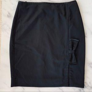 White House Black Market Black Pencil Skirt w Bow